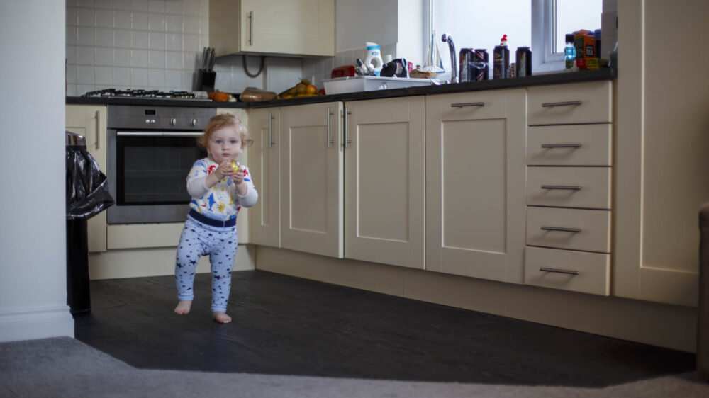 Learning to walk in Harbour View Apartment Kitchen St Ives Cornwall